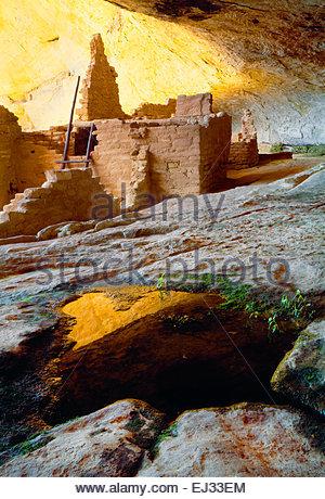 Natural spring inside 'Long House' cliff dwelling 'Wetherill Mesa'  [Mesa Verde National Park] Colorado - Stock Photo
