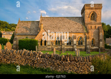 Evening sunlight on St Barnabas Church, Snowshill, the Cotswolds, Gloucestershire, England - Stock Photo