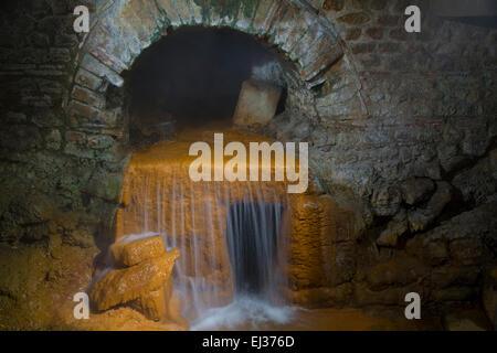 Underground hot springs at the Roman Baths in Bath, Somerset, England, UK - Stock Photo