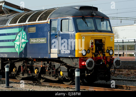Direct Rail Services class 57 diesel locomotive 'Pride of Crewe' at Rugby, UK - Stock Photo