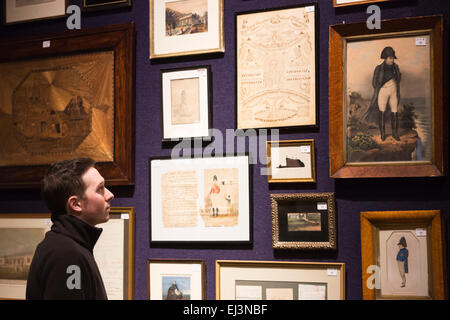 London, UK. 20 March 2015. More than 160 objects associated with Wellington's famous victory at Waterloo 200 years - Stock Photo