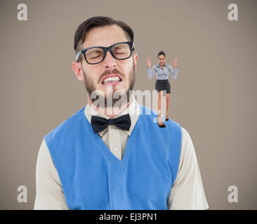 Composite image of furious businesswoman gesturing - Stock Photo