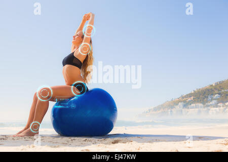composite image of fit blonde sitting in lotus pose on the
