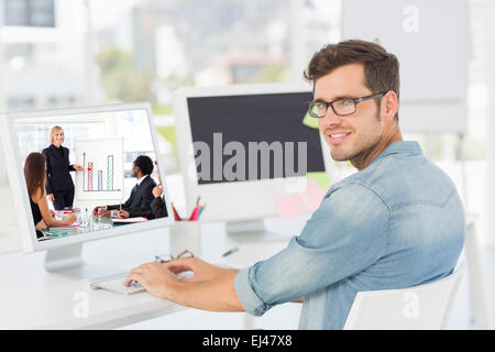Composite image of businesswoman reporting to sales in a seminar - Stock Photo