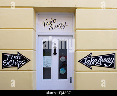 Door of fish & chip shop, Appledore, Devon, England UK - Stock Photo