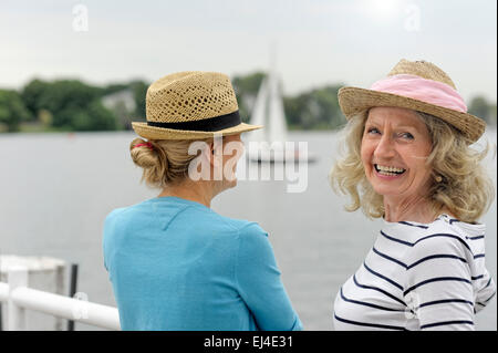 Mother and daughter on holiday - Stock Photo