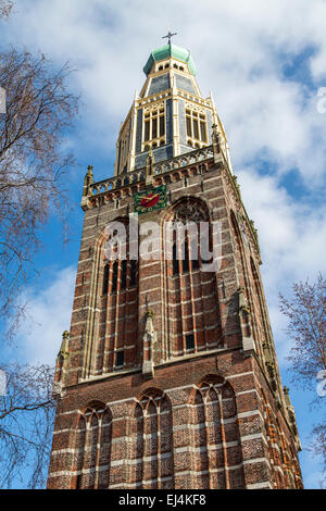 Historic town of Enkhuizen, North Holland, near the IJsselmeer, tower of Zuiderkerk church, - Stock Photo