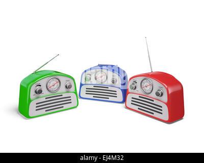 Old colourful vintage retro style radio receivers isolated on white background - Stock Photo