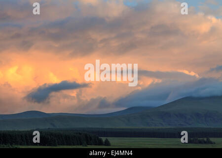 Spectacular sunset on Blencathra, in the beautiful Lake District, at Troutbeck, Cumbria,  England, Great Britain, - Stock Photo