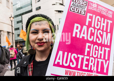 Saturday 21st March, 2015. London. Toyah travelled from Norwich today to participate in the Stand Up To Racism demonstration. - Stock Photo