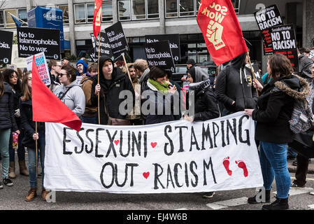 London, UK. 21st March, 2015. Students from Essex University joined thousands of demonstrators gathered today in - Stock Photo