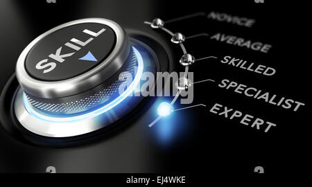 Modern switch with the word skill on the top with the words novice, average, skilled, specialist and expert around - Stock Photo