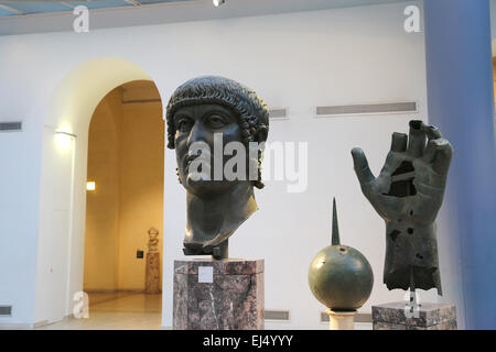 Colossal bronze head and hand of Constantine I (272-337 AD). 4th century AD. Capitoline Museums. Rome. Italy. - Stock Photo