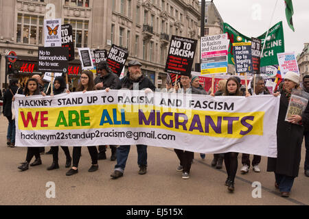 London, 21st March 2015 Anti-racism protesters march through London as they call for an end to racism and fascism - Stock Photo