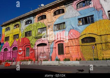 Rome. Italy. Street art by Blu on Via del Porto Fluviale, Ostiense. - Stock Photo