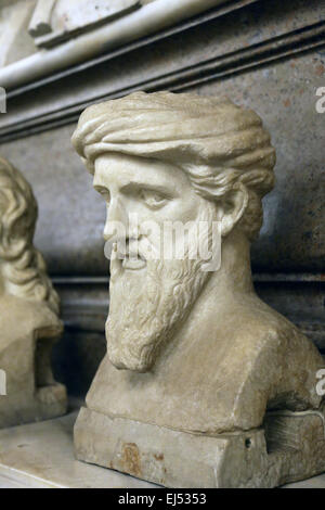 Bust of Greek philosopher and mathematician Pythagoras (570BC-495BC) of Samos in the Capitoline Museums. Rome. Italy. - Stock Photo