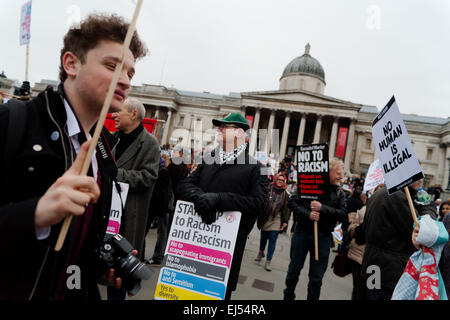 London, UK. 21st March, 2015.  Protester at the Stand up to racism and fascism Protest London,  Credit:  Peter Barbe/Alamy - Stock Photo