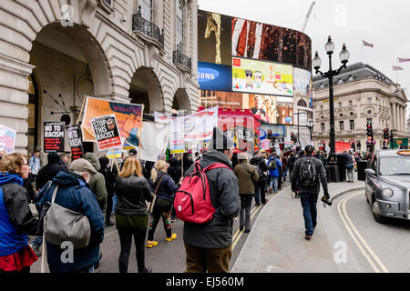 London, UK. 21st Mar, 2015. People marching through the streets of London in a march arranged by Unite Against Fascism - Stock Photo