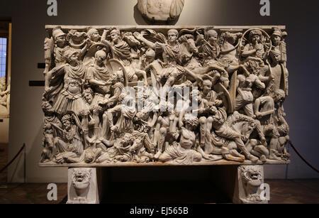Ludovisi Battle sarcophagus. 3rd century. Roman era. Battle scene between Romans and Goths. - Stock Photo