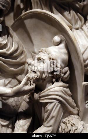 Ludovisi Battle sarcophagus. 3rd century. Roman era. Battle scene between Romans and Goths. Detail of barbarian - Stock Photo