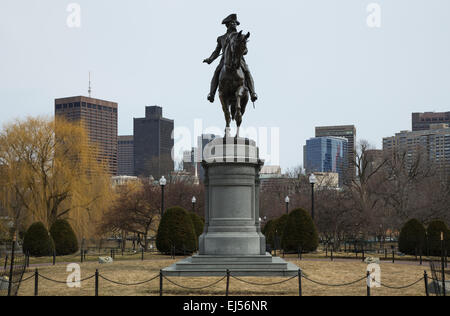 George Washington Statue Boston Public Garden In Silhouette Stock