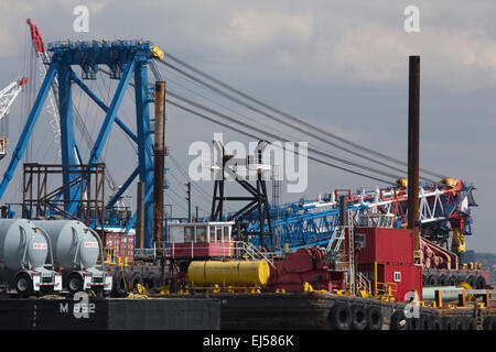Brightly colored port loading equipment, New York and New Jersey Port Authority, New Jersey, USA - Stock Photo