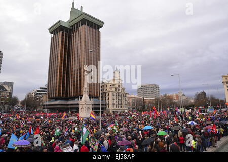 Madrid, Spain. 21st Mar, 2015. Thousands of citizens have marched from all over the Spanish State to protest in - Stock Photo
