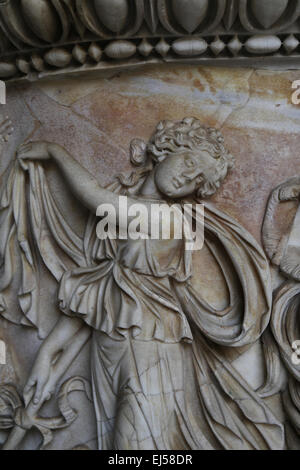Roman sarcophagus with Dionysian. Detail of Maenad. 150 AD. Vatican Museums. - Stock Photo