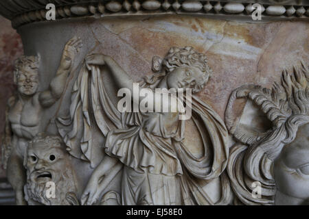 Roman sarcophagus with Dionysiac procession. Detail of Maenad. 150 AD. Vatican Museums. - Stock Photo