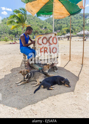 A young male Afro-Cuban man sits at his stand on the beach at Siboney, Cuba selling 'Coco Frio,' fresh cold coconuts. - Stock Photo