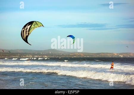 Kiteboarding. Mui Ne, Binh Thuan Province, Vietnam. - Stock Photo