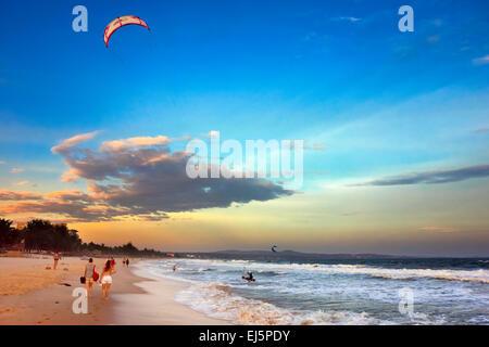 View of Mui Ne beach at sunset. Mui Ne, Binh Thuan Province, Vietnam. - Stock Photo