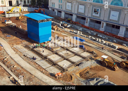 Metro construction site in District 1. Ho Chi Minh City, Vietnam. - Stock Photo