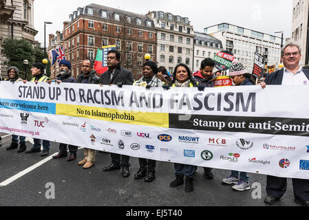 A national demonstration against racism and fascism organised by Stand Up To Racism. - Stock Photo