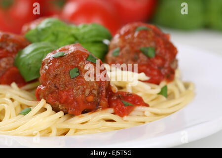 Spaghetti with meatballs noodles pasta meal on a plate - Stock Photo
