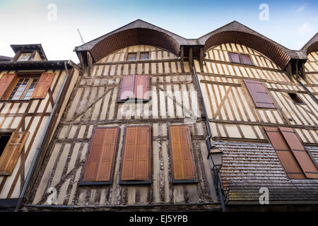 medieval half-timbered houses in a row in the old town of Troyes, Aube, Champagne-Ardenne, France, Europe - Stock Photo