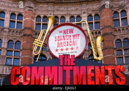 An advert for the musical The Commitments covers the front of the Palace Theatre. - Stock Photo