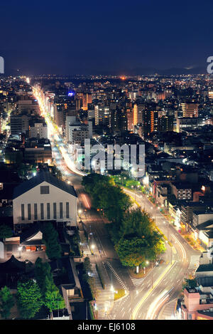 Kyoto city rooftop view at night from above. Japan. - Stock Photo