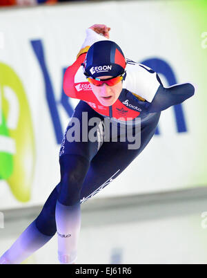 Czech speed skater Martina Sablikova speaks at a press ...