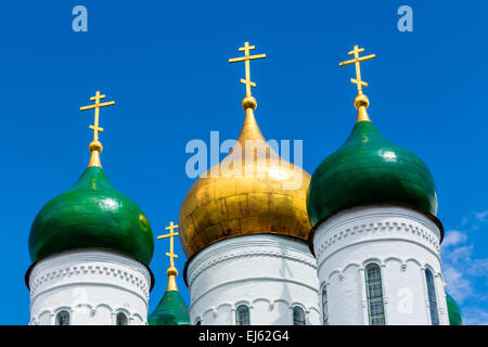 Domes of the Assumption Cathedral in the Kolomna Kremlin, Russia - Stock Photo