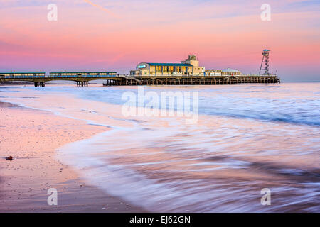 Bournemouth pier at Sunset from beach Dorset England UK Europe - Stock Photo