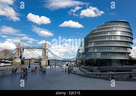 Tower Bridge and City Hall view from London Bridge southbank during Olympic Games 2012 - Stock Photo