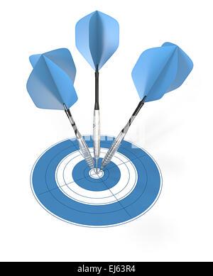 Bullseye. 3 blue dart arrows hitting center of target. - Stock Photo