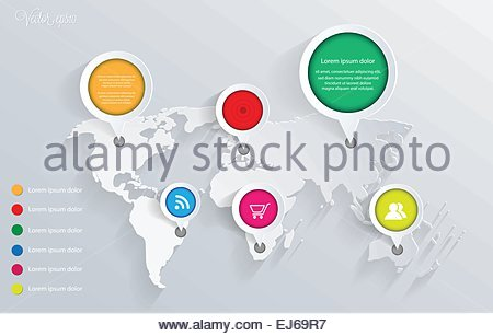 3d vector world map illustration and infographics design template. vector eps10. - Stock Photo