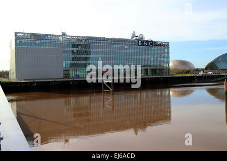 bbc pacific quay river clyde Glasgow Scotland uk - Stock Photo