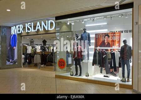 River Island shop windows in Lakeside shopping mall Thurrock Essex England UK - Stock Photo