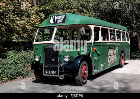 Vintage  bus for transport to Greenway, the late Agatha Christie's summer residence, Devon, UK. - Stock Photo