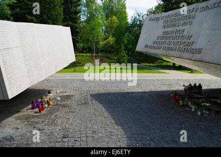 Powazki Military Cemetery in Warsaw, Poland. Monument commemorates 96 victims of Polish Governmental plane crash - Stock Photo