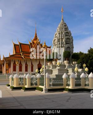 Silver Pagoda and Stupa, Royal Palace, Phnom Penh, Cambodia - Stock Photo