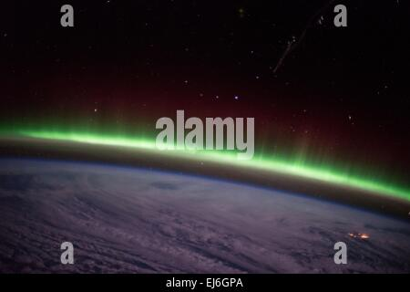 View from the International Space Station of the aurora borealis, known as the northern lights December 9, 2014 - Stock Photo